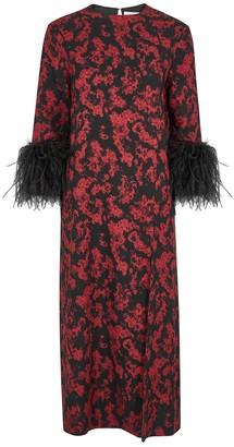16Arlington 16 Arlington Billie Printed Feather-trimmed Midi Dress