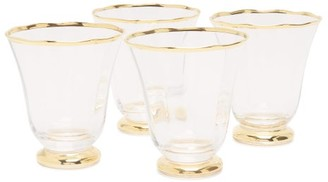 AERIN Set Of Four Sophia Gold-rimmed Tumblers - Clear