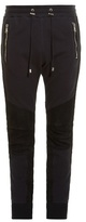 Balmain Biker ribbed-panel cotton and suede track pants