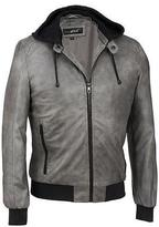 Black Rivet Mens Faux-Leather Hooded Knit Bomber