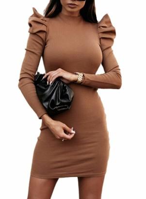 CORAFRITZ Women's Mock Neck Sweater Dress Casual Party Bodycon Mini Dress Elegant Jumper Ruffled Long Sleeve Knitted Dress Khaki