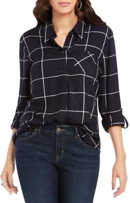 Style&Co. Style & Co. Petite Windowpane Plaid Roll Tab-Sleeve Shirt