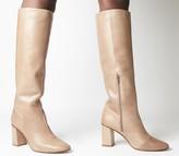Office Kingdom Block Heel Knee Boots Taupe