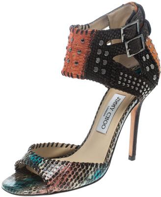 Jimmy Choo Multicolor Studded Snakeskin Ankle Strap Sandals Size 39.5