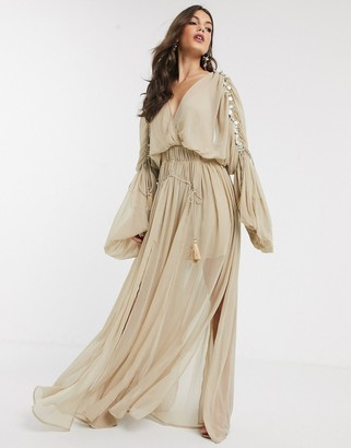 ASOS DESIGN coin smocked maxi dress