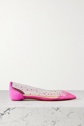 Christian Louboutin Degrastrass Embellished Pvc And Suede Point-toe Flats - Fuchsia