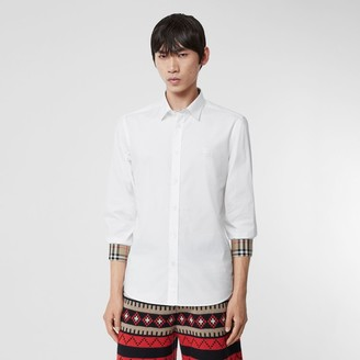 Burberry Embroidered EKD Stretch Cotton Poplin Shirt