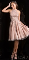 Scala Halter Beaded Fit and Flare Party Dress