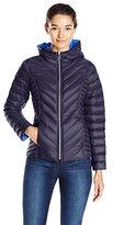 Nautica Women's Reversible Light Down Jacket W/ Hood
