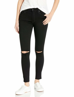 James Jeans Women's Twiggy Ankle Length Skinny Jean with Knee Slits Hem in Black Swan Raw 30