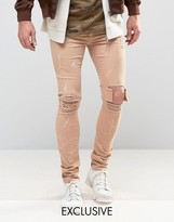 Mennace Skinny Jeans With Paint Splat In Tan