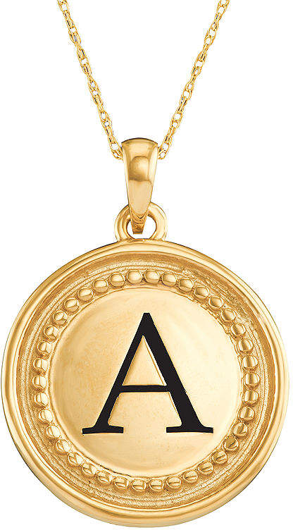 JCPenney FINE JEWELRY Personalized 14K Yellow Gold Initial Disc Pendant Necklace