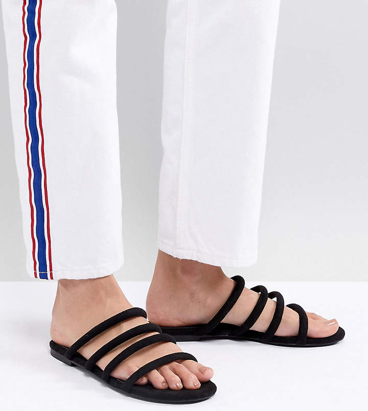 Monki multi strap sandals in Black