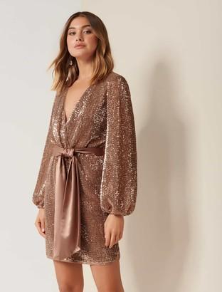 Forever New Di Sequin Mini Dress - Copper - 10