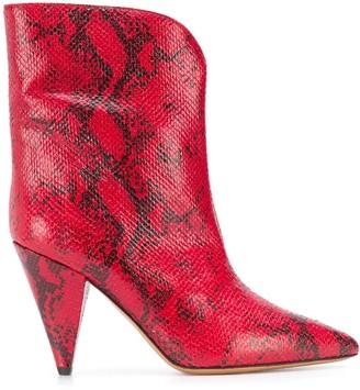 Isabel Marant Leinee snakeskin print boots