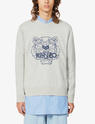 Kenzo Tiger-print wool and cotton-blend jumper