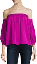 Milly Off-the-Shoulder Stretch-Silk Blouse