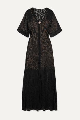 Olivia von Halle + Maleficent Delphine Devore-chiffon Maxi Dress - Black