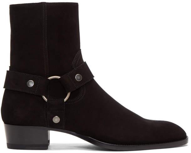 Saint Laurent Black Suede Wyatt Harness Boots
