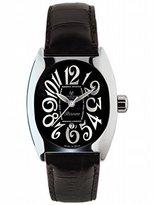 Montres de Luxe Women's BI3 NER Bisanzio Stainless Steel Luminous Black Leather Date Watch
