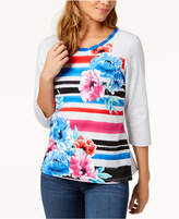 Alfred Dunner Petite Upper East Side Striped Floral-Print Top