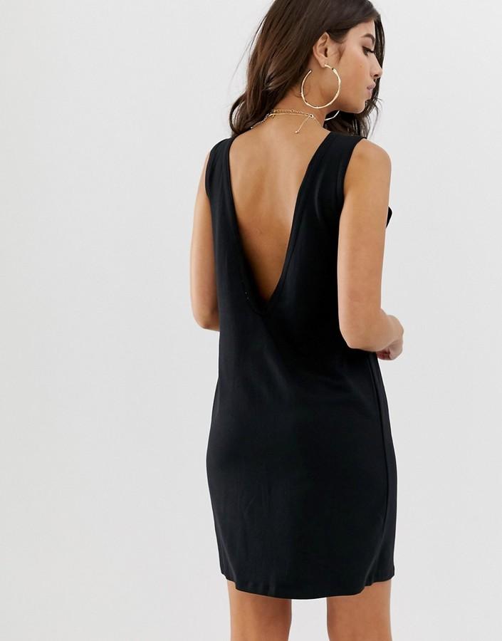 Asos Design DESIGN v back singlet dress in black