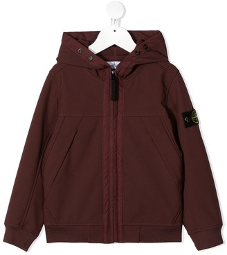 Stone Island Junior Zipped Logo Patch Hoodie