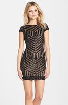 Dress the Population 'Tabitha' Sequin Stripe Mesh Minidress