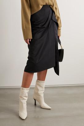 The R Collective - Net Sustain Welland Asymmetric Draped Taffeta Midi Skirt - Black