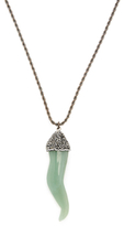Kenneth Jay Lane Hematite & Jade Horn Pendant Necklace