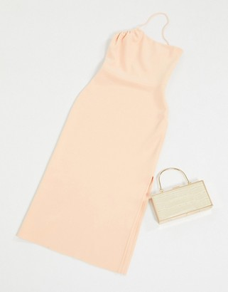 Bec & Bridge ruby asymmetrical bodycon midi dress in peach