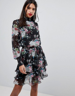 Y.A.S high neck bold floral mini dress