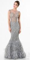 Terani Couture Sheer Crystal Evening Dress
