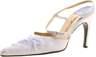 Sergio Rossi Lilac Satin Embroidered Slingback Sandals Size 38