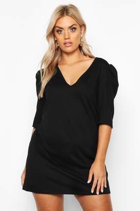 boohoo Plus Frill Sleeve Cotton T-Shirt Dress