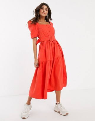 Asos Design DESIGN denim belted prairie midi dress with puff sleeve-Orange