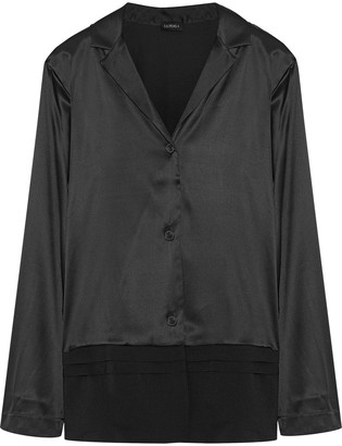 La Perla Chiffon-paneled Silk-satin Pajama Top