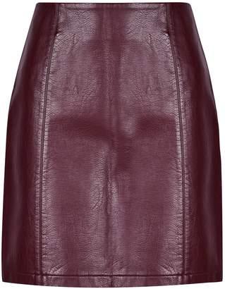Dorothy Perkins Womens Aubergine Seam Pu Mini Skirt