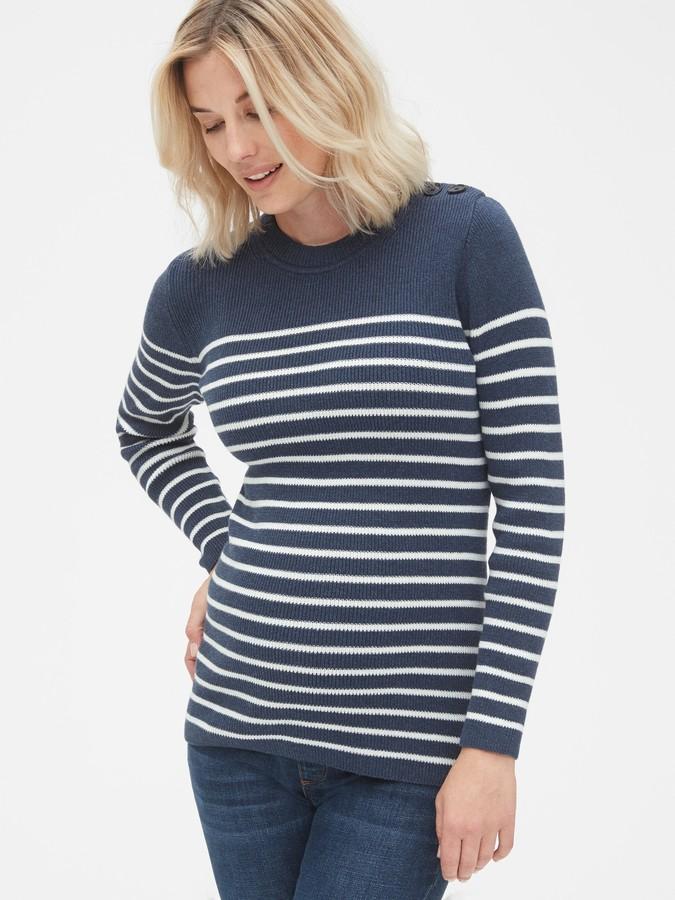 Gap Maternity Stripe Button-Shoulder Pullover Sweater