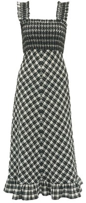 Ganni Square-neck Cotton-blend Gingham-seersucker Dress - Womens - Black White