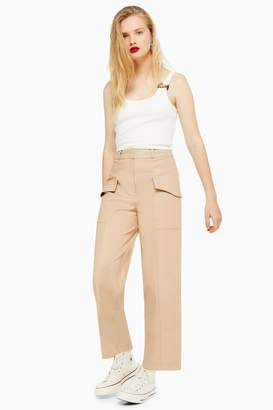 Topshop Womens Utility Crop Wide Leg Trousers - Sand
