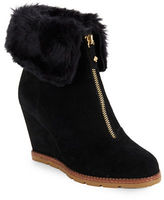 Kate Spade Stasia Faux Fur-Accented Suede Wedge Ankle Boots