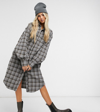 Collusion longline brushed check shirt dress in grey