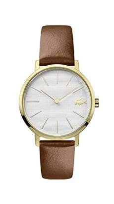 Lacoste Women's Moon Gold Tone Quartz Watch with Leather Calfskin Strap