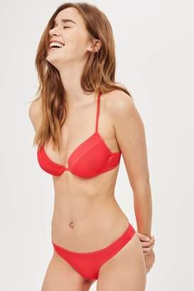 Topshop Womens Red Ribbed High Leg Bikini Bottoms - Bright Red