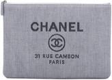 One Kings Lane Vintage Chanel Large Blue Linen Clutch - Vintage Lux