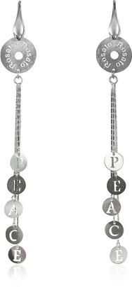Rosato Sterling Silver Peace Charm Long Earrings