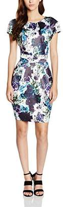 Wolfwhistle Wolf and Whistle Women's Rose Print Satin Tailored Dress