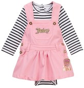 Juicy Couture Striped Bodysuit & Twill Jumper Set (Baby Girls)