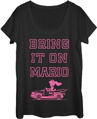 Fifth Sun Women's Tee Shirts BLACK - Mario Kart Princess Peach 'Bring It Mario' Tee - Women & Juniors